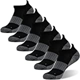 Antibacterial Socks, FOOTPLUS Men and Women Moisture Wicking Antimicrobial Low Cut Copper Running Socks, 6 Pairs Black, Large