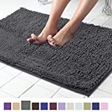ITSOFT Non Slip Shaggy Chenille Soft Microfibers Bathroom Rug with Water Absorbent, Machine Washable, 21 x 34 Inches Charcoal Gray