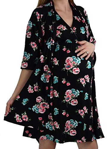 Embrace Your Bump 2 in 1 Super Soft Maternity & Nursing Nightgown & Robe Set (Black/Pink/Blue Floral, Large)