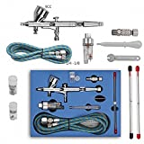CNUALV 180K Airbrush Kit Dual Action Air Brush Kit Spray Gun Air Hose with 0.2mm/0.3mm/0.5mm Needle for Tattoo, Cake Decorating, Nail Beauty, Painting