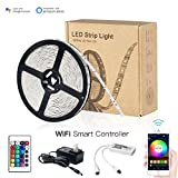 WiFi 16.4ft 150LEDs IP65 Waterproof RGB SMD 5050 Strip Light with 12V Power Supply and Remote Controller, Compatible with Alexa Google Home and Siri Shortcut