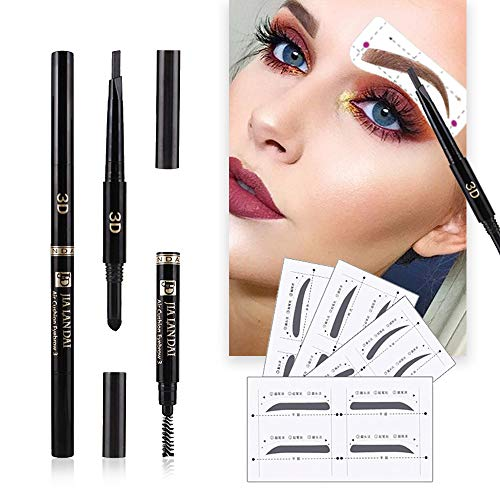 Eyebrow Stencils SET with 8 Unique Eyebrows Shape Stickers Reusable for Women. Also 3-in-1 Black Eyebrow Pencil that includes Powder & Brush. Easy Eyebrow Grooming & Styling