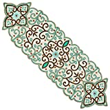 Cotton Craft - Beaded Table Runner - Romance - Ivory Multi - 13x36 - Hand Made by Skilled Artisans - A Beautiful Complement to Your Dinner Table Décor - Spot Clean Only