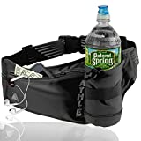 Athlé Running Fanny Pack with Water Bottle Holder - Adjustable Run Belt Storage Pouch with Zipper Pocket for Sports and Travel – 360° Reflective Band – Fits iPhone Plus, Galaxy Note – Black/Silver