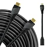 HDMI Cable 100 Ft, GearIT Pro Series High Speed HDMI Cable (100 Feet / 30.48 Meters) Supports 4K 3D Audio Return Channel CL3 In-Wall Rated with Ethernet and Detachable Signal Booster Adapter, Black