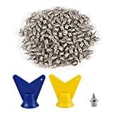 120 Pcs 1/4' Length Pyramid Shoes Spike Replacements Stainless Steel Spikes, with 2Pcs Spike Wrench,Track and Cross Country Spikes Shoe Replacement Spikes for Sports Short Running Shoes Silver Color