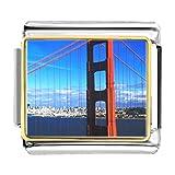 GiftJewelryShop Gold Plated Travel Golden Gate Bridge Bracelet Link Photo Italian Charm