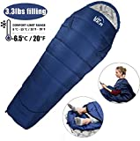 UPSKR Sleeping Bag Lightweight & Waterproof for Adults & Kids Cold Weather, 3-4 Season Mummy Sleeping Bags Great for Indoor & Outdoor Use Hiking Backpacking Camping Traveling with Compression Sack
