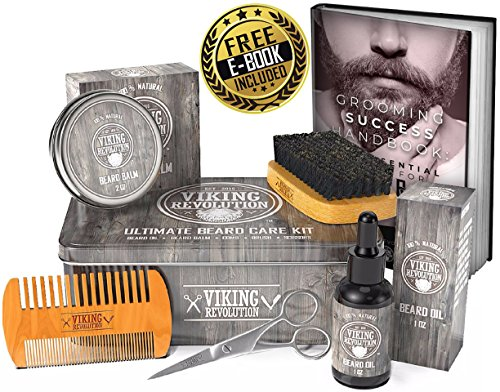 Viking Revolution Beard Care Kit for Men - Ultimate Beard Grooming Kit includes 100% Boar Men's Beard Brush, Wooden Beard Comb, Beard Balm, Beard Oil, Beard & Mustache Scissors in a Metal Gift Box