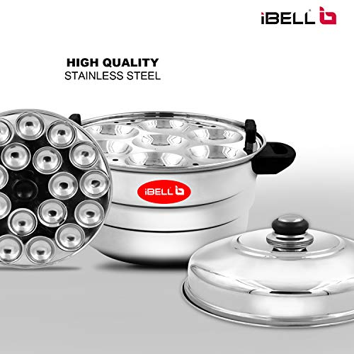 51djnaIYiyL - IBELL IP21P3SM High Food Grade Idly Pot Stainless Steel with Steamer and Mini 3 Idlis Plates (21 Idlyes)
