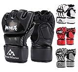 Brace Master MMA Gloves UFC Gloves Boxing Training Gloves Men Women Leather More Padding Fingerless Punching Bag Gloves The Kickboxing, Sparring, Muay Thai Heavy Bag, (Black Large)