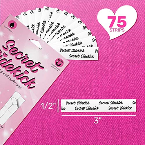 Secret Sidekick Double Sided Tape for Womens Fashion Clothing and Body- 1 Pack (75 Strips)- Strong and Clear Tape for All Skin Tones and Fabric
