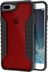 "Silk iPhone 7 Plus/8 Plus Tough Case - SILK ARMOR Protective Rugged Grip Cover - ""Guardzilla"" - Includes 2 Tempered Glass Screen Protectors - Crimson"