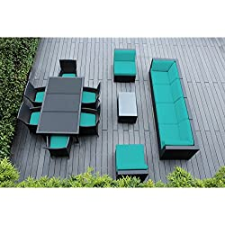 Genuine Ohana Outdoor Sectional Sofa and Dining Wicker Patio Furniture Set (14 pc set) with Free Patio Cover (Sunbrella Aruba)