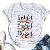 LUKYCILD Grateful Thankful Blessed Feather T-Shirt Women Thanksgiving Cute Graphic Print Shirt Size M (Gray)