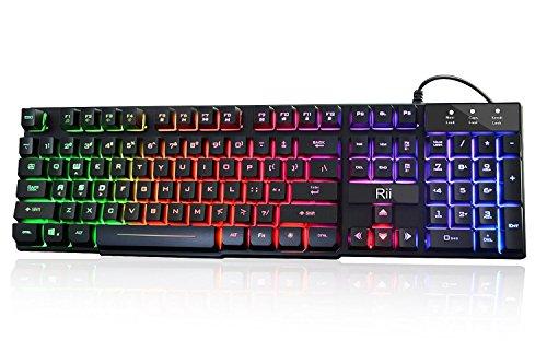 Rii RK100+ Multiple Color Rainbow LED Backlit Large Size USB Wired Mechanical Feeling Multimedia Gaming Keyboard