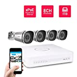 Foscam 4CH HD WiFi Security CCTV Surveillance System, Pre-installed 1TB HDD, Wireless NVR KIT, 4 HD 720P Indoor/Outdoor IP66 Waterproof Bullet IP Camera, 65FT Night Vision, FN-3104W-B4-1T