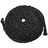 POYINRO Expandable Garden Hose, 75ft Strongest Expanding Garden Hose on The Market with Triple Layer Latex Core & Latest Improved Extra Strength Fabric Protection for All Your Watering Needs Black