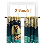 Flyerer Ship, Bedroom Curtains, Kids Fairy Tale Fantasy Illustration Magical Night Time Sailing Ship on Curly Waves, Curtain Liners for Drapes Blackout, W72 x L63 Inch Multicolor