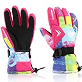 Ski Gloves,RunRRIn Winter Warmest Waterproof and Breathable Snow Gloves for Mens,Womens,ladies and Kids Skiing,Snowboarding(Rose Red-L)