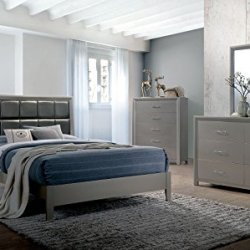 Esofastore Blythe Bedroom Furniture Glamour Classic Look 4pc Padded Leatherette Queen Size Bed Dresser Mirror Nightstand Silver Finish