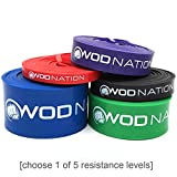 WOD Nation Pull up Assistance Bands Best for Pullup Assist, Chin Ups, Resistance Band Exercise, Stretch, Mobility Work & Serious Fitness - Single Band 41 inch Straps | 1 Red 10-35 lbs