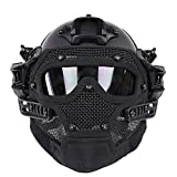 HYOUT Fast Tactical Helmet Combined with Full Mask and Goggles for Airsoft Paintball CS Military