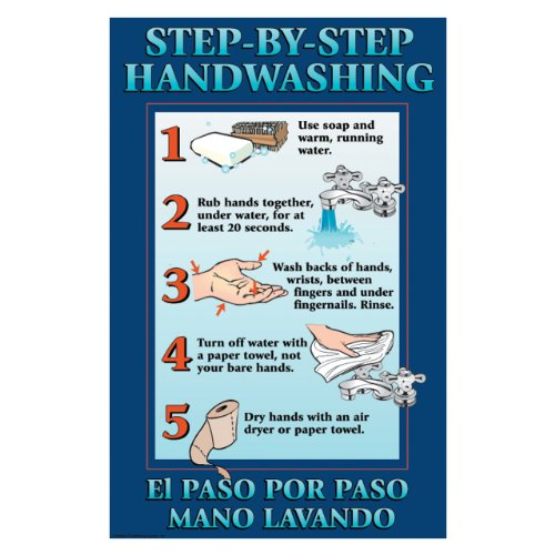 DayMark IT112092 Laminated Workplace Safety and Educational Poster, Step-By-Step Hand Washing,