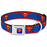 "Buckle-Down Seatbelt Buckle Dog Collar - Superman Shield/Stripe Red/Blue - 1"" Wide - Fits 11-17"" Neck - Medium"