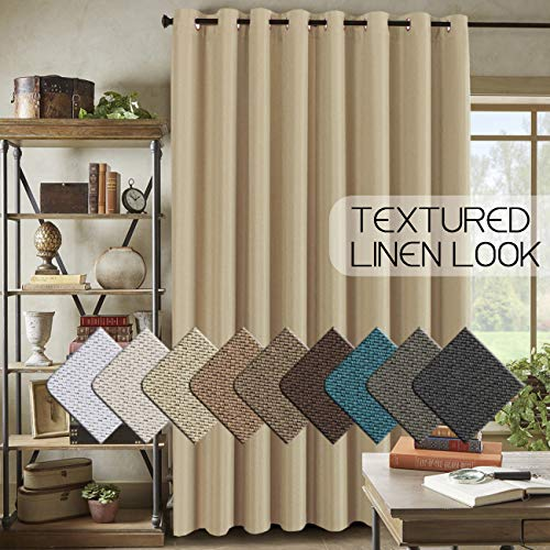 Energy Saving Linen Curtains for Sliding Glass Door (W100' x L84')- Room Darkening Primitive Linen Large Curtains for Living Room Privacy Blinds for Patio Blackout Extra Wide Linen Curtain - Beige