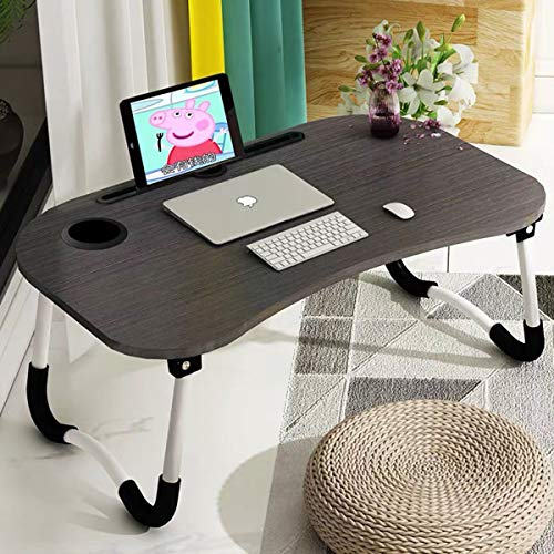 51e%2BP KqrhL - Barbieya Notebook Table Dorm Desk, Dormitory with Small Desk, Bed with Laptop Table, Folding Table, Breakfast Tray Reading Stand Desk with Cup Slot (60 × 40cm)