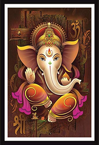 Online Center Lord Ganesha Shree Ganesh Shri Ganpati Hd Wall Framed Poster Multicolor Frame 14 X 20 Inch Amazon In Home Kitchen