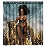 ZHANZZK Sexy Afro American Woman With Wild Leopard Waterproof Polyester Shower Curtain Bathroom Curtain 66x72 inches