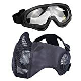 Aoutacc Airsoft Protective Gear Set, Half Face Mesh Masks with Ear Protection and Goggles Set for CS/Hunting/Paintball/Shooting (TY)