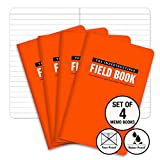 The Indestructible, Waterproof, Tearproof, Weatherproof Field Notebook - 3.5'x5.5' - Orange - Lined Memo Book - Pack of 4