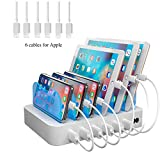 Hercules Tuff White Multiple USB Charger Station 2-in-1 - Short Cables Included for lphone, lpad, Tablets - 50W 10A - Rare White Color Charging Station