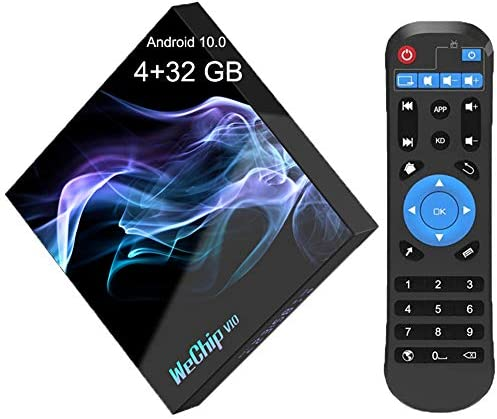 Android 10.0 TV Box,Android TV Box 4GB RAM 32GB ROM with Allwinner H616 Quad-Core 64bit,Supports 2.4G/5GHz Dual WiFi/BT 5.0/ 6K/4K Ultra HD/3D/ H.265 Smart Android TV Box