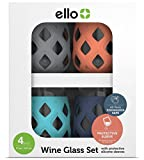 Ello Cru Stemless Wine Glass Set with Silicone Sleeves | 17 oz | Color