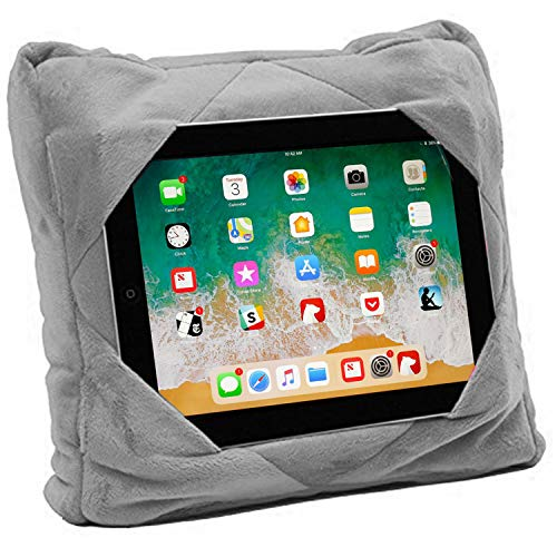 GoGo Travel Pillow for Ipad Tablet Holder, Airplane Neck Pillow, Multi functional 3 in 1 Cushion Lap Desk for On The Go or at Home - Train, Car, Bus, Plane or in Bed - Great Gift for Kids (grey)