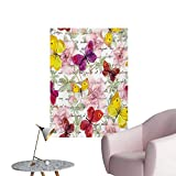 Butterflies Wallpaper Flowers and Text Camellia Valentines Love Letters Romantic Calligraphy AntiqueMulticolor W32 xL36 Poster Paper