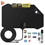 [2019Upgraded] HDTV Antenna Amplified Digital HD TV Antenna 120+ Mile Range 4K 1080P Indoor Powerful HDTV Amplifier Signal Booster VHF UHF Freeview Television Local Channels w/Detachable Sign (Black)