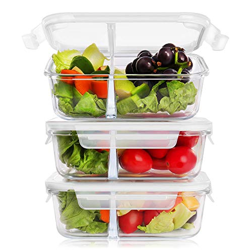 BAYKA Glass Meal Prep Containers 36 Ounce 3-Pack, 2 Sealed Compartment Glass Food Storage Containers with Lids, Portion Control Airtight Glass Lunch Containers