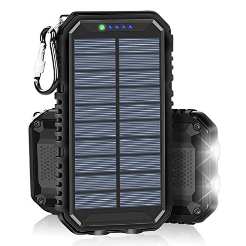 Solar Charger 15000mAh Portable Power Bank with 2.4A Outputs Weatherproof for iPhone, ipad, Samsung, Smart Phones and Outdoor Camping