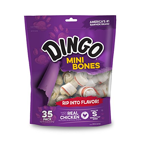 Dingo Mini Bones, Rawhide for Small or Toy Dogs, Made w/Real Chicken 1