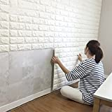 Wall Stickers (5PCS, White) 3D Brick Self-Adhesive Panel Decal PE Wallpaper