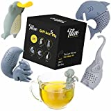 Tilevo Tea Infuser Set of 5 - The Cute Loose Leaf Silicone Tea Steeper Ball Strainer Diffuser with Gift Box - Includes Animal Monkey Platypus Elephant Squirrel and Shark