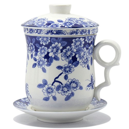 BandTie Convenient Travel Office Loose Leaf Tea Brewing System-Chinese Jingdezhen Blue and White Porcelain Tea Cup Infuser 4-Piece Set with Tea Cup Lid and Saucer (Butterfly Flower Pattern)