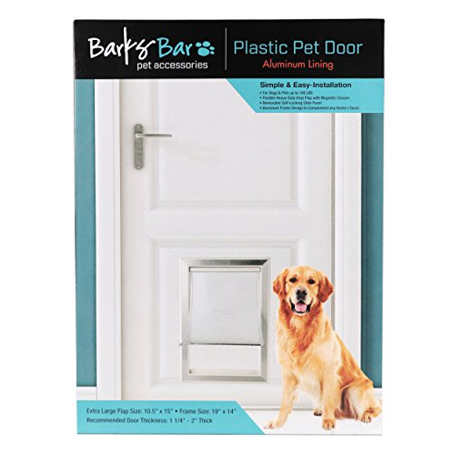 Barksbar Original Plastic Dog Door With Aluminum Lining White