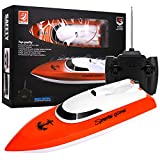 OSKIDE Remote Control Boat, 2.4GHz Remote Control Boat for Pool and Lakes, Electric RC Boat 180 Degree Auto Flip Recovery, High Speed Remote Boat Toys for Boys & Girls - Best Gifts for Adults & Kids