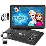 DR.Q 16.8 Inch Portable DVD Player 1280x800 14.1' Rotate Screen with AV Cable to Sync TV and Projector, Kids Partner on Car Travel, Support SD Card, 2.0 USB, Remote Control, Blue Color Available